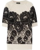 Lanvin Lace-Appliquéd Wool and Angora-Blend Sweater - Lyst