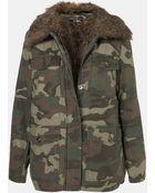 Topshop Faux Fur Lined Camo Utility Jacket - Lyst