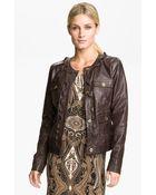 MICHAEL Michael Kors Zip Trim Leather Jacket - Lyst