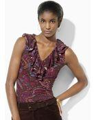 Lauren by Ralph Lauren Ribbed Cotton Ruffled Top - Lyst