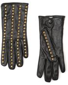 Mango Touch Studded Leather Gloves - Lyst