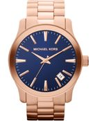 Michael Kors Oversize Rose Golden Stainless Steel Runway Threehand Watch - Lyst