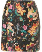 Topshop Premium Painted Leather Skirt - Lyst
