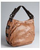 Furla Brown Snake Embossed Leather Gam Hobo - Lyst