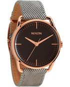 Nixon The Mellor Pinstripe Leather Strap Watch - Lyst