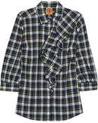 Tory Burch Rosie Ruffletrimmed Checked Cotton Shirt - Lyst