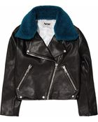 Acne Studios Rita Detachable Contrast collared Leather Jacket - Lyst