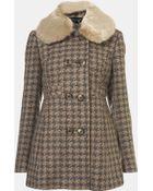 Topshop Faux Fur Collar Coat - Lyst