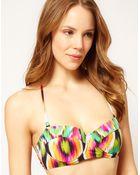 Asos Ikat Print Padded Longline Bikini Top - Lyst