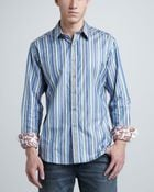 Robert Graham Striped Sport Shirt Blue - Lyst