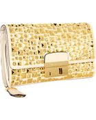 Michael Kors Gia Studded Clutch with Lock - Lyst