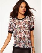 ASOS Collection Asos Top with Printed Sheer Band - Lyst