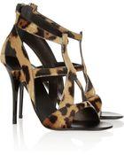 Giuseppe Zanotti Leopard-Print Calf Hair Sandals - Lyst