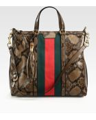 Gucci Rania Python Top-Handle Bag - Lyst