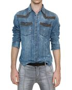Balmain Studded Washed Cotton Denim Shirt - Lyst