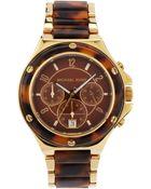 MICHAEL Michael Kors Midsize Tortoise Chronograph Watch - Lyst