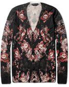 Alexander McQueen Flowerprint Wool Cardigan - Lyst