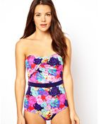 Asos Penelope Floral Belted Pouch Over Bandeau Swimsuit - Lyst