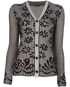 Bottega Veneta Striped Floral Print Cardigan - Lyst