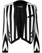 Balmain Blackwhite Striped Cottonblend Open Jacket - Lyst