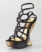 Alexander McQueen Wave Strappy Wedge Sandal - Lyst