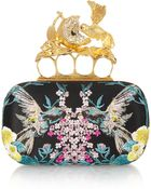 Alexander McQueen Knuckle Embroidered Satin Box Clutch - Lyst