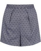 Topshop Tile Geo Pleat Shorts - Lyst