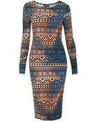 Topshop Tie Dye Aztec Print Midi Dress - Lyst