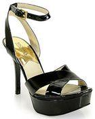 MICHAEL Michael Kors Gideon Black Patent Leather Platform Sandal - Lyst