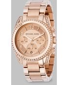 Michael Kors Blair Rose Goldtone Ip Stainless Steel Chronograph Bracelet Watch - Lyst