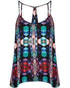 Topshop Aztec Print Pleat Sun Top - Lyst