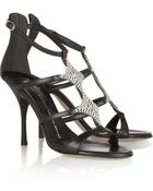 Giuseppe Zanotti Diamanté Embellished Leather Sandals - Lyst