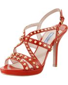 Prada Studded Slingback Sandal Orange - Lyst
