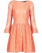 Topshop Crochet Lace Flippy Dress - Lyst