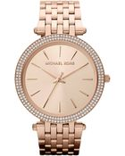 Michael Kors Ladies Darci Rose Gold-Tone Stainless Steel Watch With Crystals - Lyst