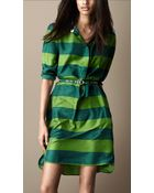 Burberry Brit Striped Silk Shirt Dress - Lyst