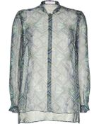 Matthew Williamson Bluegreen Printed Sheer Silk Shirt - Lyst