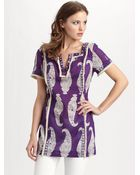 Tory Burch Paisley Tunic Top - Lyst