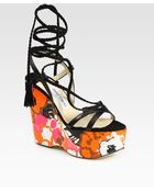 Jimmy Choo Leather and Suede Floral Wedge Sandals - Lyst