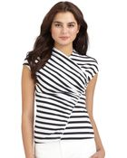 Lafayette 148 New York Striped Ruffle Detail Top - Lyst
