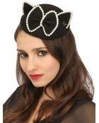 Maison Michel Bibi Yoko Felt Fur Pearls Cat Ear Hat - Lyst