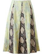 Erdem Jemima Lace And Python Printed Silk Skirt - Lyst