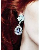Kenneth Jay Lane Ceramic Flower Crystal Drop Earrings - Lyst