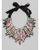Oscar de la Renta Rectangular Bead Bib Necklace - Lyst