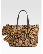 Valentino Leopard Printed Bow Tote - Lyst
