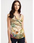 Etro Wildflowerprint Stretch Silk Top - Lyst