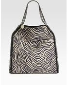 Stella McCartney Falabella Zebra Print Burlap Shoulder Bag - Lyst