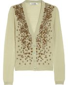 Valentino Embellished Fine-Knit Cashmere and Silk-Blend Cardigan - Lyst