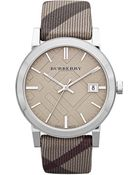 Burberry Mens Stainless Steel Watch With Smoked Check Leather Strap - Lyst