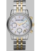 Michael Kors Two-Tone Stainless Steel Chronograph Watch - Lyst